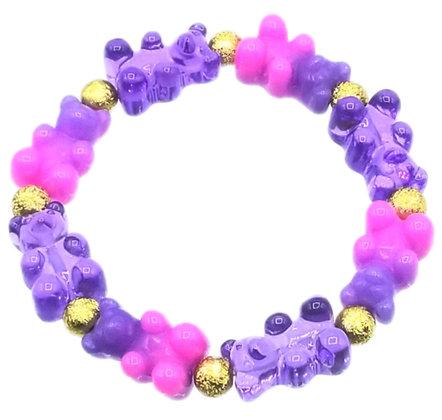 NEW!! Stretch Gummy Bear Bracelet--Pink and Purple Swirl