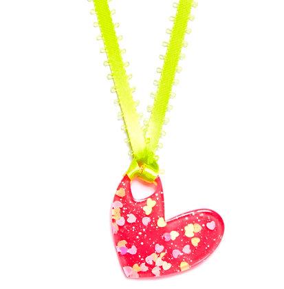 Be Mine Valentine Pendant - Hot Pink/Green