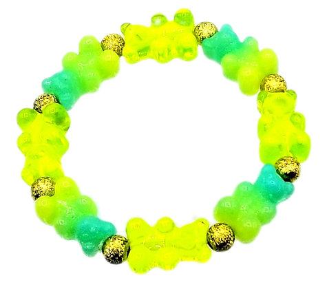 NEW!! Stretch Gummy Bear Bracelet--Lemon and Lime Swirl