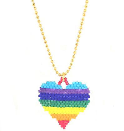 Beaded Necklace - Rainbow Heart