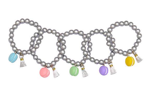 Silver macaron cookie bracelets