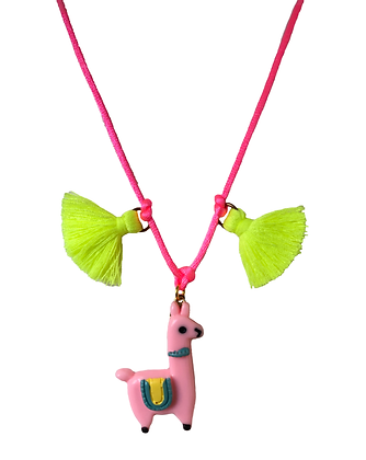 Light Pink Llama and Tassel Necklace