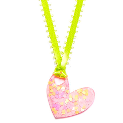 Be Mine Valentine Pendant - Light Pink/Green