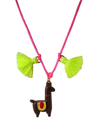 Dark Brown Llama and Tassel Necklace
