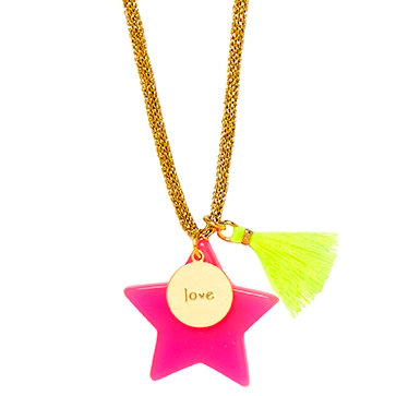 Hot Pink Large Star Necklace