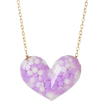 Dotty Heart Necklace - Purple