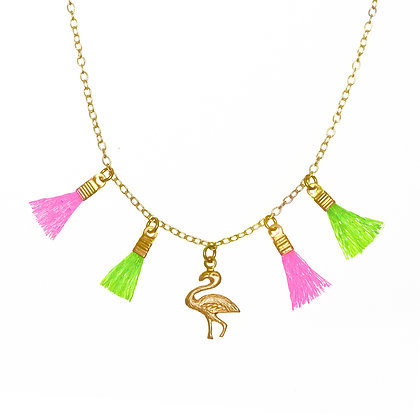 Mini Tassel Necklace (Flamingo)