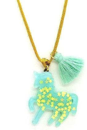 Aqua Sparkly Unicorn Pendant
