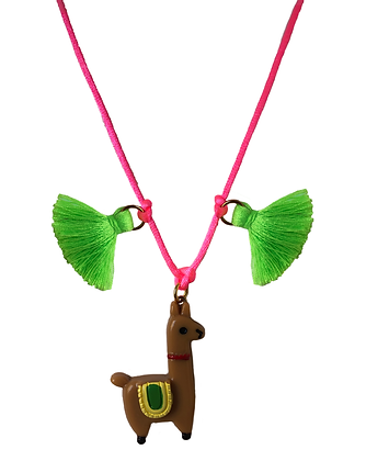Light Brown Llama and Tassel Necklace