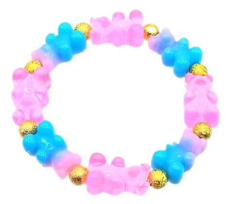 NEW!! Stretch Gummy Bear Bracelet--Pink and Blue Swirl