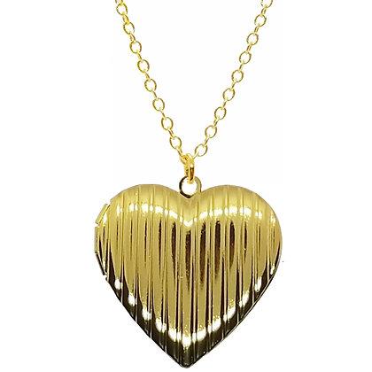 Large Striped Heart Locket