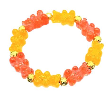 NEW!! Stretch Gummy Bear Bracelet--Red and Orange 2 Tone
