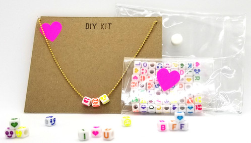 Do it yourself necklace kit necklace set comes in vinyl snap pouch and includes one gold ball chain with clasp and plenty of alphabet heart and emoji beads so you solutioingenieria Image collections