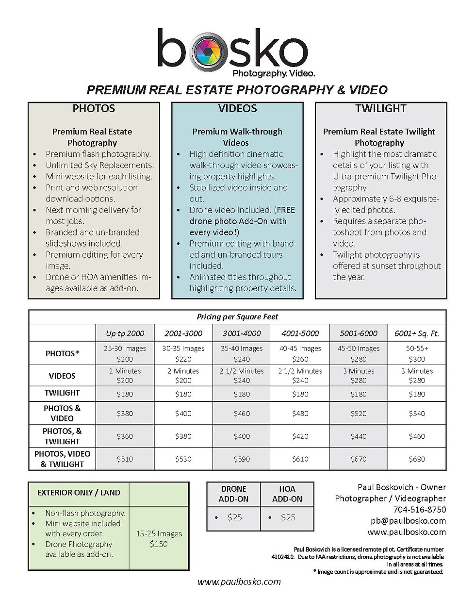 Real Estate Photography & Video Pricing