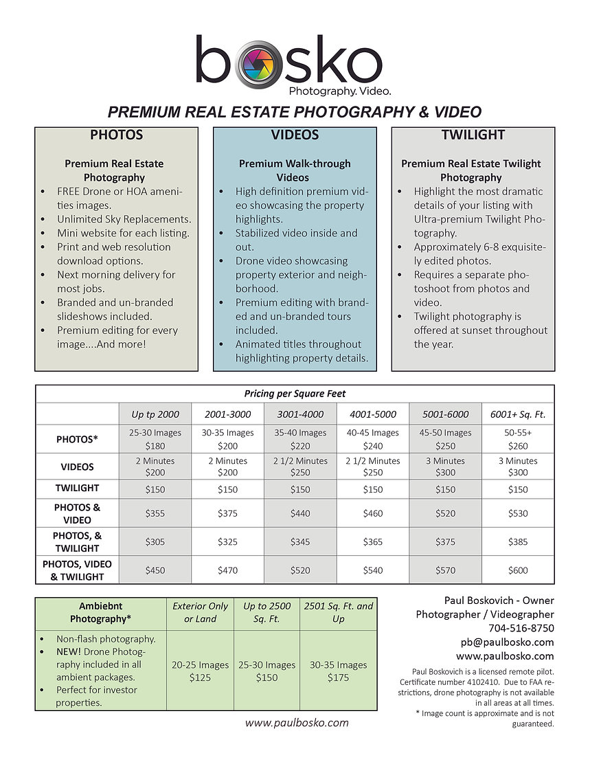 Real Estate Photography & Video Price Fl