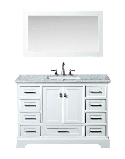 "Newport White 48"" Single Sink Vanity with Mirror"
