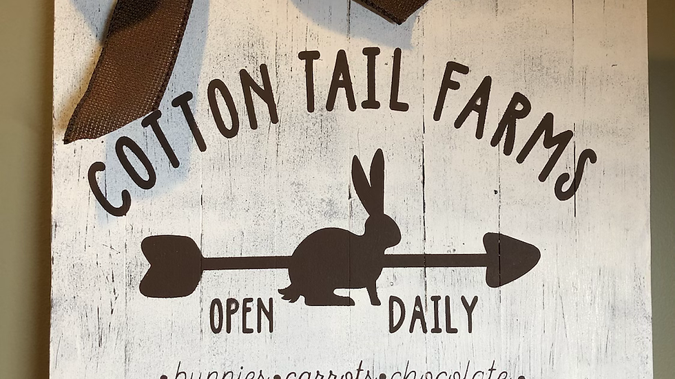 Cotton Tail Farms hanging sign