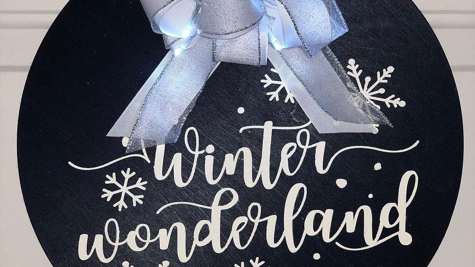 Lighted Winter Wonderland hanging sign