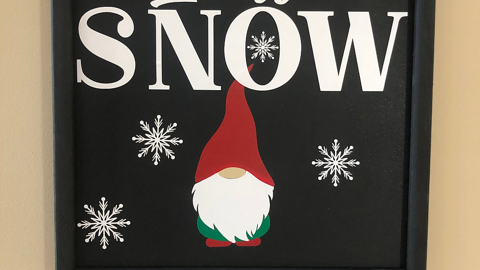Framed Let is Snow Gnome