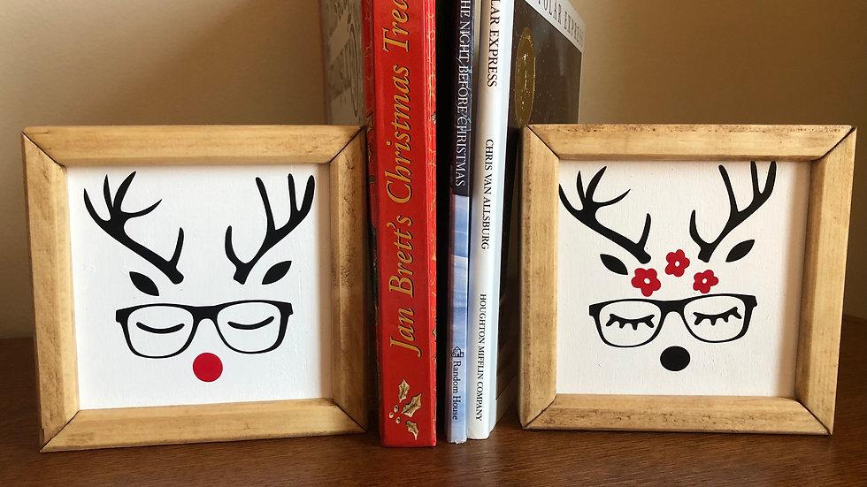 Framed Reindeer signs (pair)