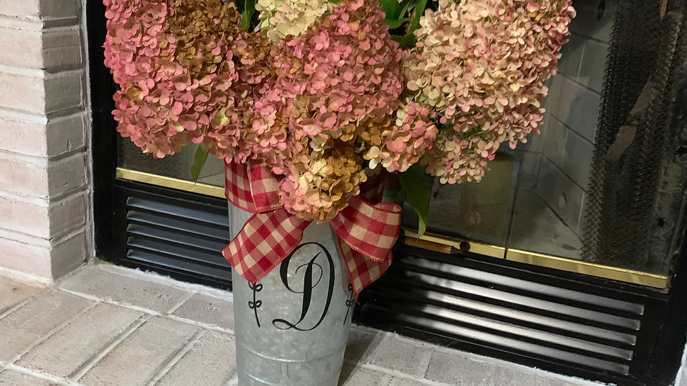 Monogrammed Tall Tin Container (Hydrangeas optional)