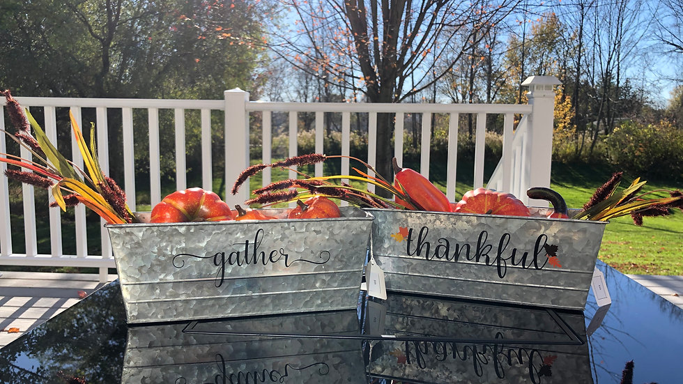 Gather and Thankful tin containers