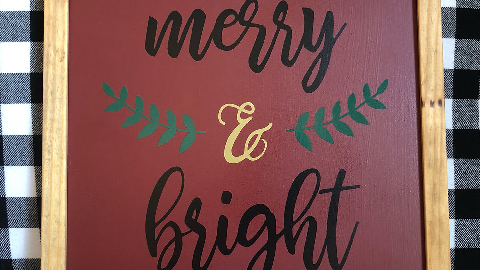 Framed Merry & Bright Holiday sign