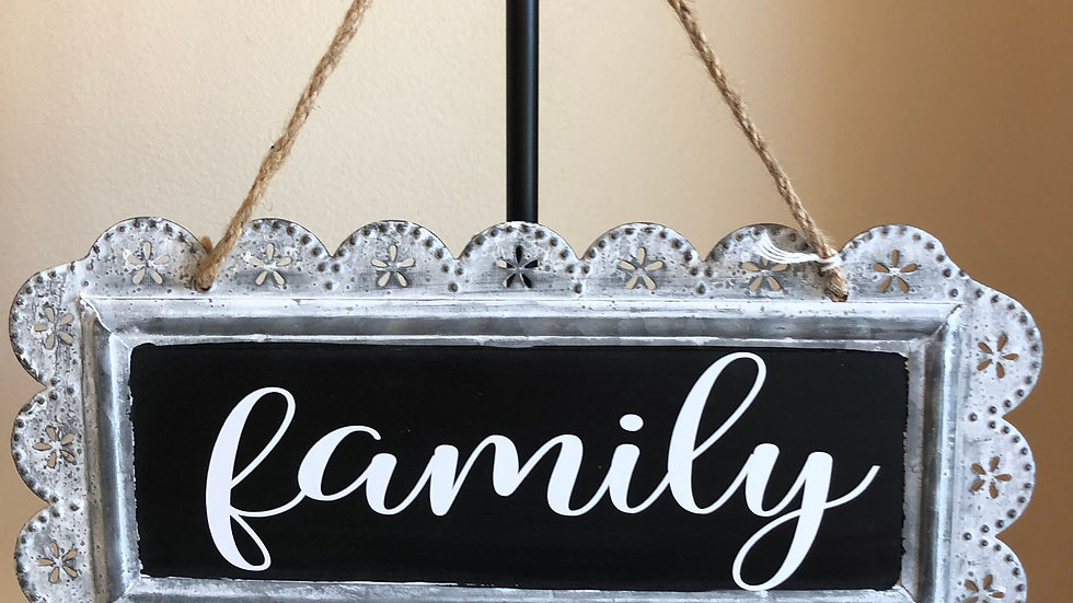 Family tin sign