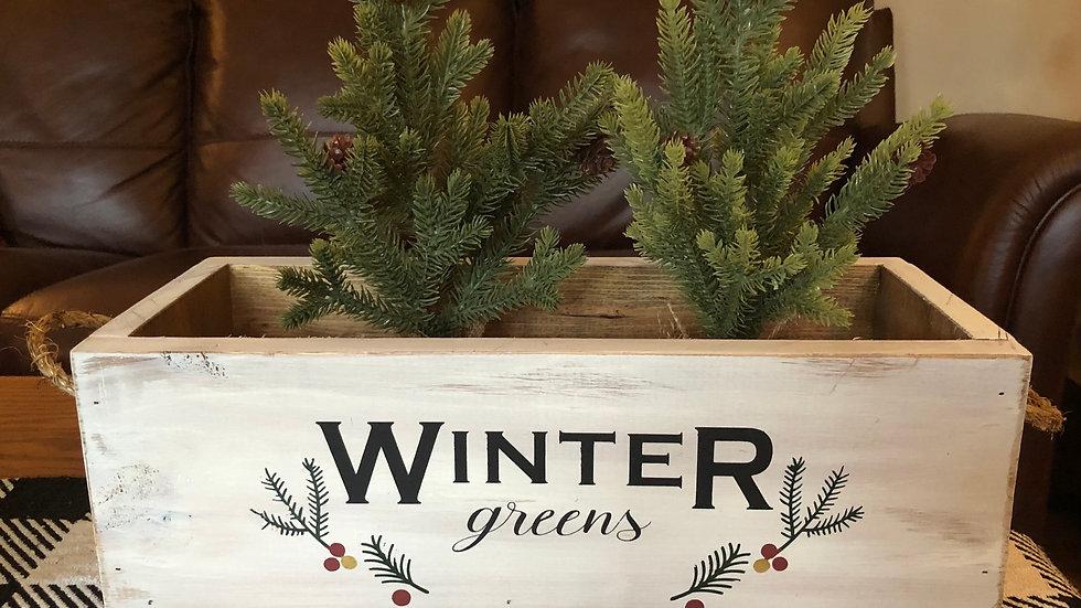 Winter Greens wood box