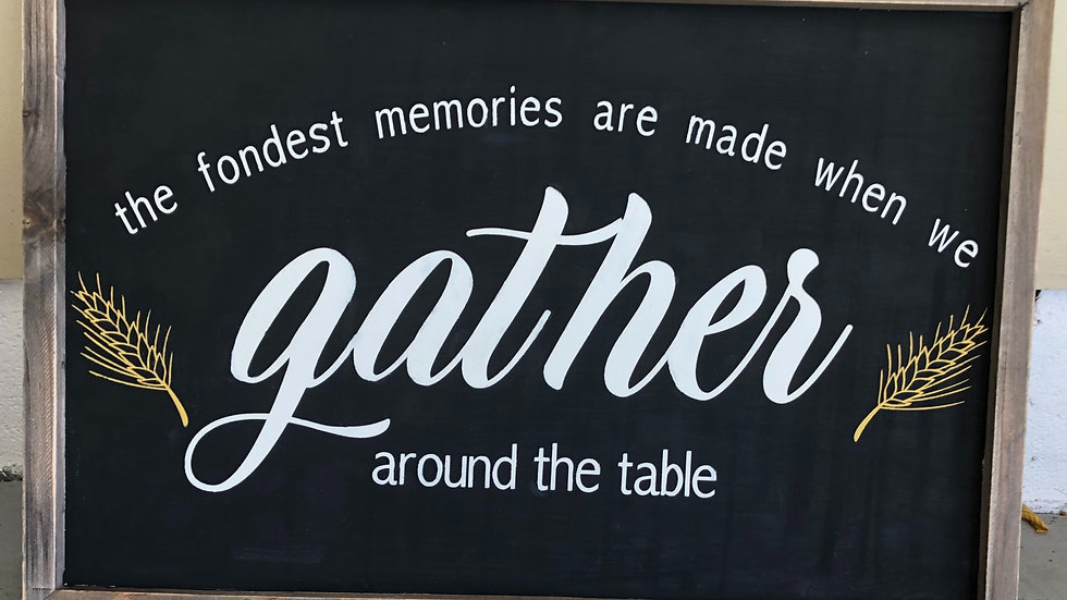 Framed Gather Around the Table sign