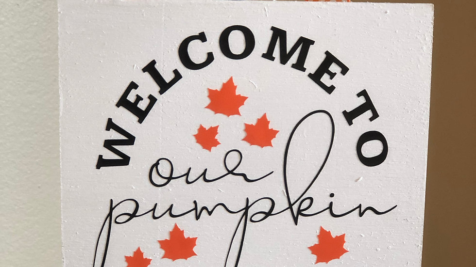 Wooden Welcome to Pumpkin Patch sign