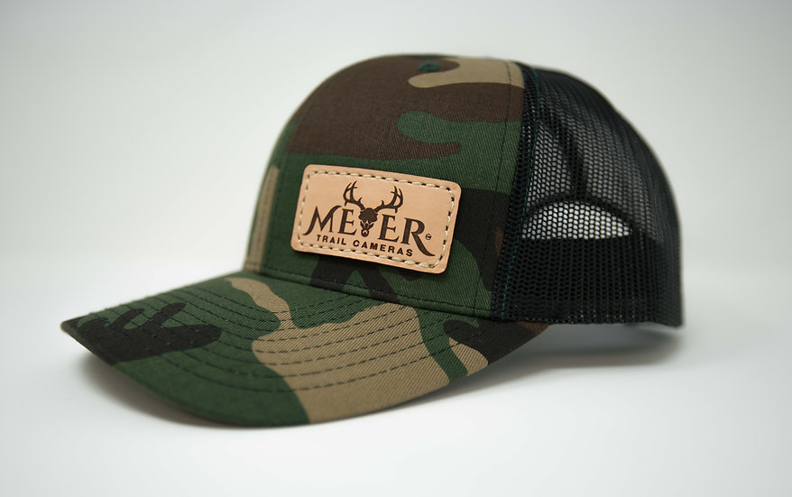 Old School Camo Trucker Hat Meyer leather logo