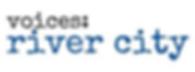 black text voices: over blue text river city