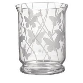 ETCHED BUTTERFLIES HURRICANE VASE
