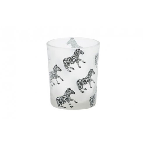 ANIMAL VOTIVE HLD ZEBRA WHITE, BLUE