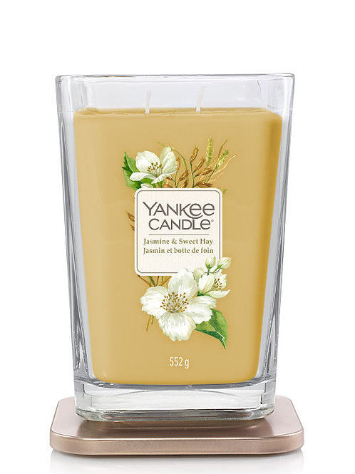 LARGE 2-WICK SQUARE CANDLE JASMINE & SWEET HAY