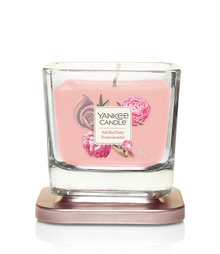 SMALL 1-WICK SQUARE CANDLE SALT MIST PEONY