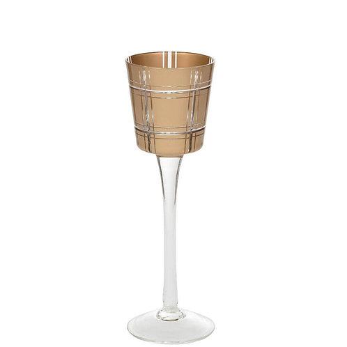 GOLDEN ETCHED GLASS - LRG STEMMED VOTIVE HOLDER