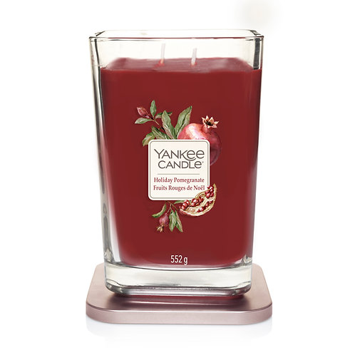 LARGE 2-WICK SQUARE CANDLE HOLIDAY POMEGRANATE