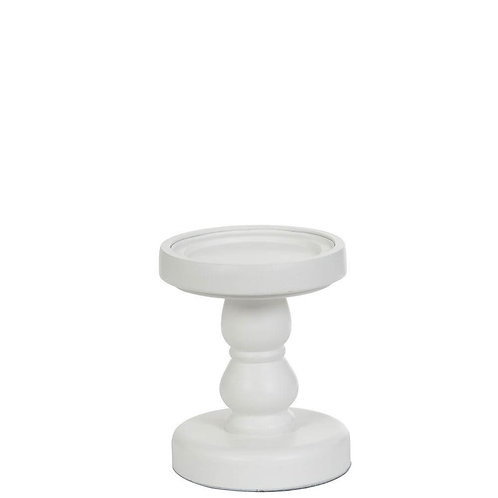 WOOD PILLAR CANDLE WHITE STAND SML