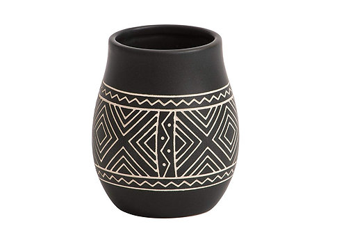AFRICAN ETCHED CERAMIC VOTIVE HOLDER TALL