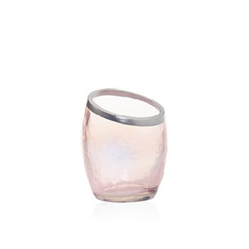 PEARLESCENT CRACKLE PINK VOTIVE HOLDER