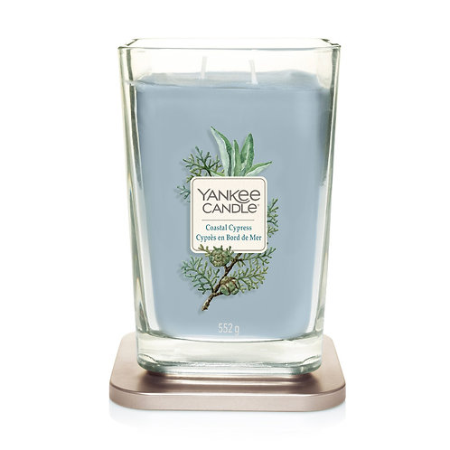 LARGE 2-WICK SQUARE CANDLE COASTAL CYPRESS