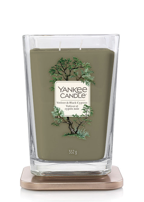 LARGE 2-WICK SQUARE CANDLE VETIVER & BLACK CYPRESS