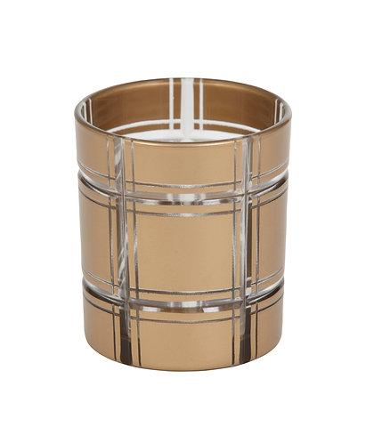 GOLDEN ETCHED GLASS VOTIVE HLD