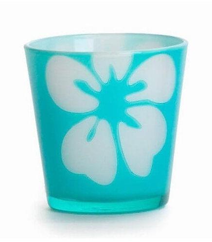 FLOWER DYE VOTIVE HLD. BLUE