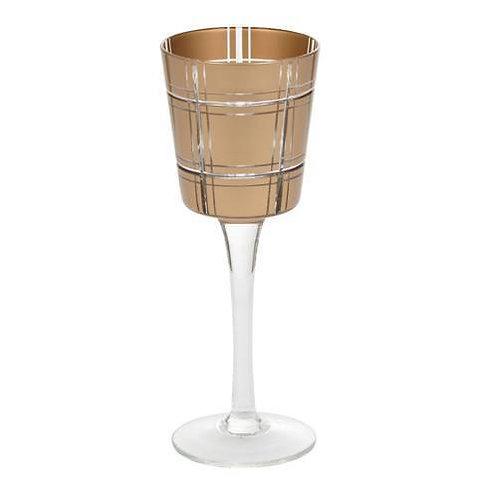 GOLDEN ETCHED GLASS - MED STEMMED VOTIVE HOLDER