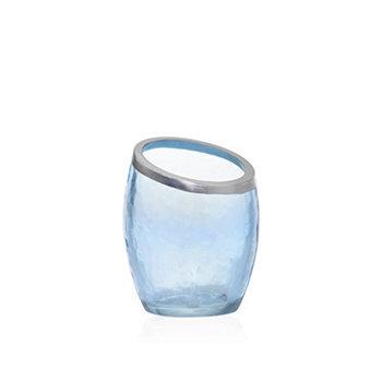 PEARLESCENT CRACKLE BLUE VOTIVE HOLDER