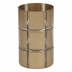GOLDEN ETCHED GLASS JAR HLD