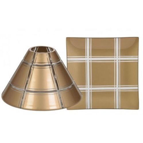 GOLDEN ETCHED GLASS LRG SHADE & TRAY